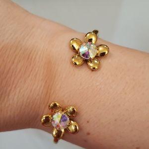 kate spade Flower Hinge Bangle Bracelet Gold Pink